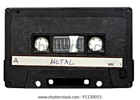 close up of vintage audio tape on white background with clipping path