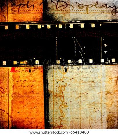 Close up of vintage movie film strips