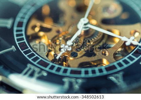 Close up of vintage pocket watch Showing Gears