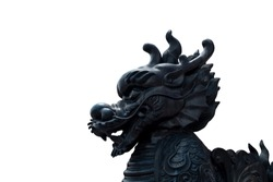Close up of vintage retro traditional Black Chinese Lion head statue crop that related to Buddhism Chinese religion isolated on a white background