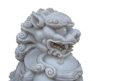 Close up of vintage retro traditional Chinese Lion head statue crop that related to Buddhism Chinese religion isolated on a white background