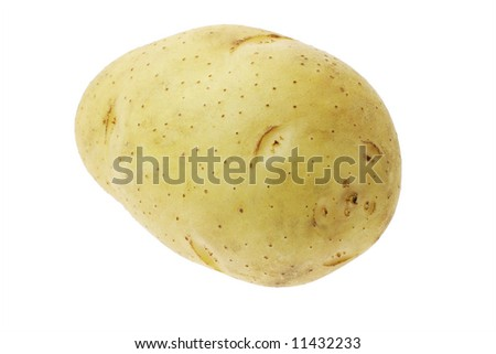 Close up of washed clean fresh potato isolated on white background
