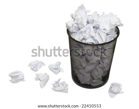 close up of waste papers and basket on white background with clipping path - stock photo