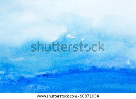 close up of  water color strokes painting on white background