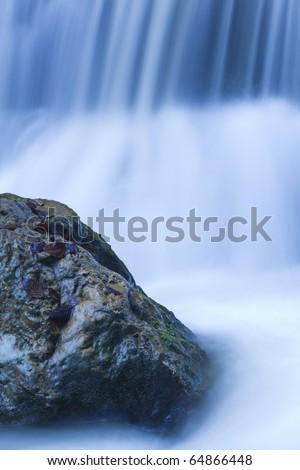 close up of waterfall on mountain river