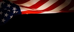 Close up of waving national usa american flag on black background with copy space for text. Concept of 4th of July or Memorial Day.