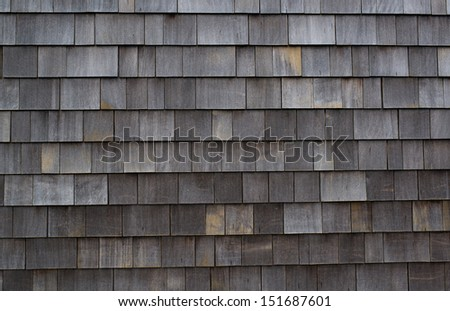 Close up of Weathered Cedar Shingled Wall on Ocean Front House