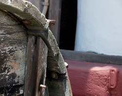 Close-up of weathered rustic wooden barrel in Old Town, San Diego