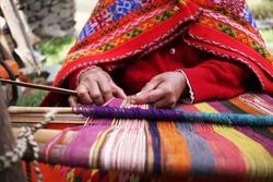 Close up of weaving in Peru