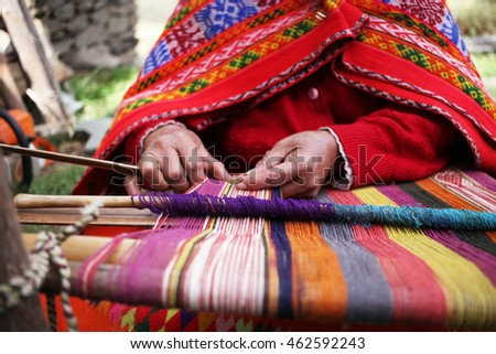 Close up of weaving in Peru