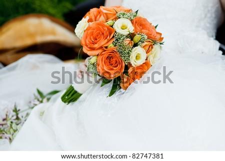 close up of wedding bouquet