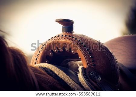 Close up of western saddle
