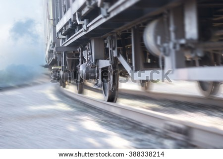 close up of wheels of train in...