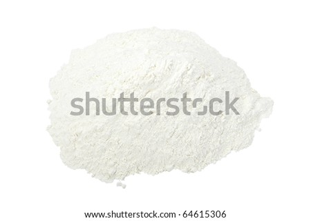 close up of  white baking flour powder  on white background with clipping path
