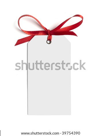 close up of white card note with  red ribbon on white background on white background