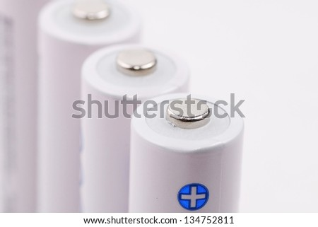 close-up of white cell batteries on isolated white background