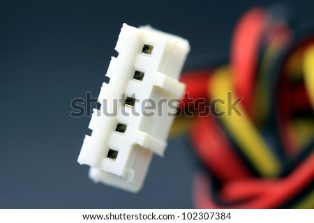 Close up of white computer cable connector