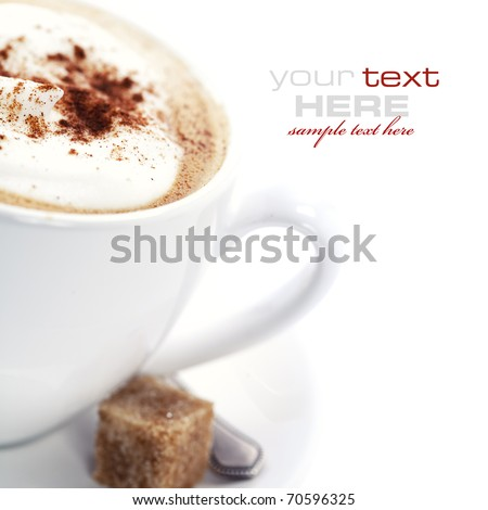 Close-up of white cup of coffee (with sample text)