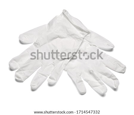 close up of white latex protective gloves on white background ストックフォト ©