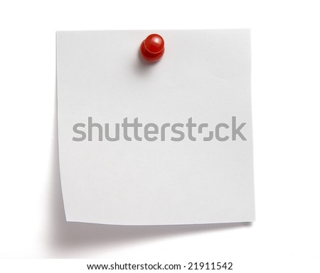 close up of white note pad reminder on wall, with clipping path