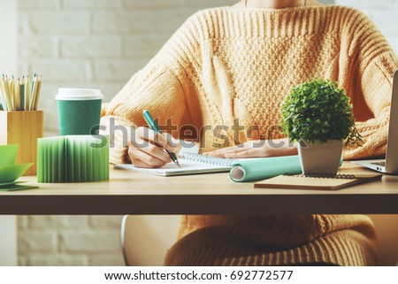 Attrayant Close Up Of White Woman Working On Project At Wooden Hipster Office Desk  With Supplies,