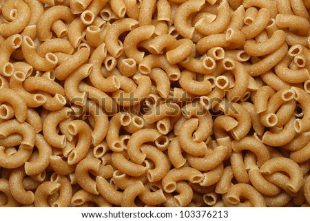Close-up of whole grain macaroni elbow pasta
