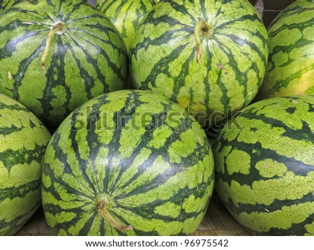 Close up of whole watermelons for sale in fruit market