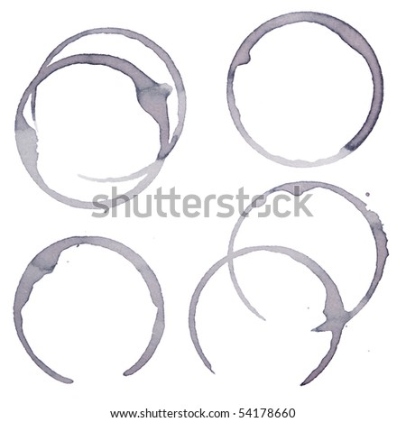 close up of wine glass marks on white background