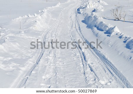 Close up of winter snowy road