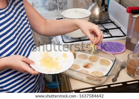 Close Up of woman Chef Sprinkling Cheese on glass Plate with Healthy Chicken cutlets with cream sauce. housewife cooking in the kitchen