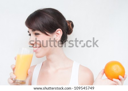 Close up of woman drinking orange juice