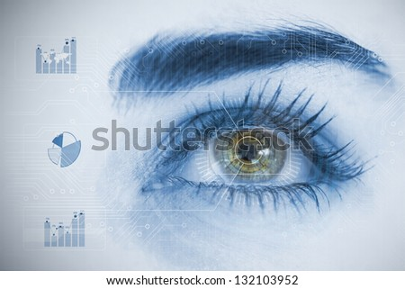 Close up of woman eye analyzing chart interfaces with statistics