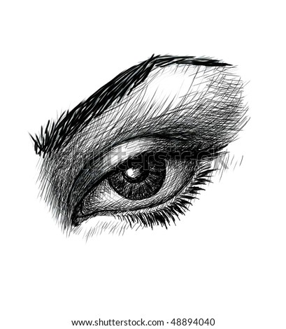 stock photo Closeup of woman eye Black and white drawing