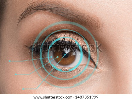 Close up of woman eye in process of scanning. Retina identification concept. #1487351999