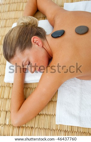 Close-up of woman getting spa treatment in a health center
