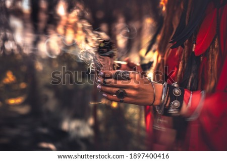 close up of woman hands with shamanic fire outdoors Stock fotó ©