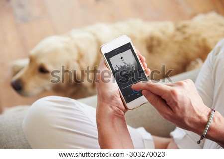 Close Up Of Woman Listening To Music Smartphone At Home