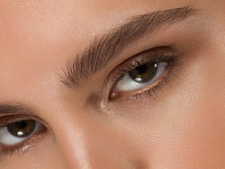 Close-up of woman's eyes with evening make-up. Fashionable shades of eye shadow, extremely long eyelashes and thick smooth eyebrows. Open beautiful look. Clean skin