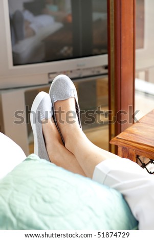 close up of woman's foot in a...