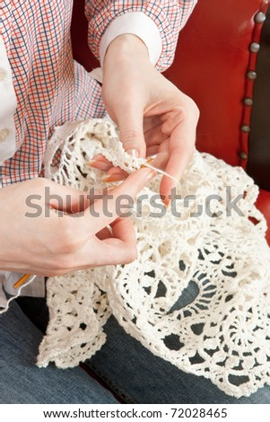 Close-up of woman's hand knitting