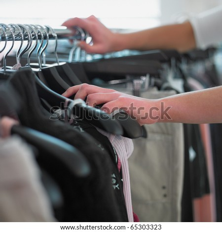 Close up of woman shopping - stock photo