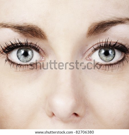 close up of womans eye shot in the studio