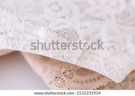 Close up of women's lace panties on white background. Delicate Female underwear texture. #1531231934