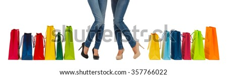 close up of women with shopping bags #357766022