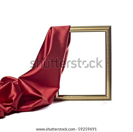 close up of wooden frame cover with silk textured cloth on white background with clipping path