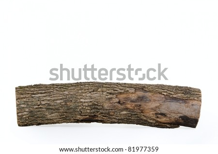 Close-up of wooden log stub isolated on white background