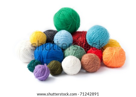 close up of wool knitting on white background
