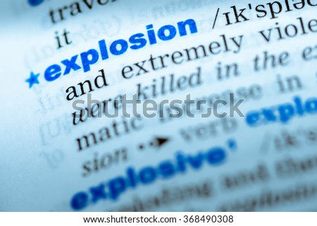 Close Up Of Word In English Dictionary. Explosion, Definition And  Transcription #368490308