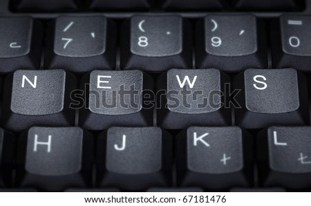 close up of word news on computer keyboard