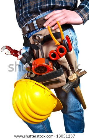 Close-up of worker with tools 13